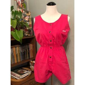 1980s Hot Pink Cotton Shorts Romper DREAMS Medium